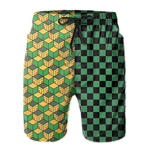 Men's American Cool Swim Trunks, Anime Demon Slayer 3D Cosplay Printed Sports Baseball Beach Board Shorts SPA Quick Dry Breathable Oceanside Shorts with Mesh Lining
