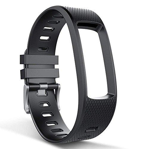 endubro Cinturino per fitness tracker endubro i3HR & i7HR | i6HR | i6HR C & molti altri modelli realizzato in TPU Skin-friendly con chiusura antiallergica (Nero)