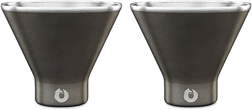 Snowfox Insulated Stainless Steel Margarita and Martini Cocktail Glass, Set of 2, Olive Grey