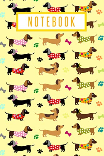 Notebook: Sausage Dog Lined Notebook Journal, Novelty Cute Dachshund Pattern Gift For Girls, Women, Teens, Dog Lovers & Pet Owners, Yellow