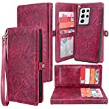 Harryshell Detachable Magnetic 12 Card Slots Wallet Case PU Leather Flip Protective Cover Wrist Strap for Samsung Galaxy S21 Ultra 5G (6.8-Inch)(2021) (Flower Wine Red)