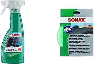 SONAX CockpitPfleger Matteffect Sport Fresh reinigt und pflegt alle Kunststoffteile & MicrofaserPflegePad (1Stück) für gleichmäßiges Auftragen von Kunststoffpflegemitteln und EIN gründliches Ergebnis