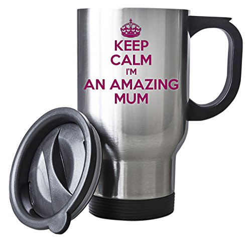 Duke Gifts Pink KEEP CALM I'm An Amazing Mum Silver Travel Mug