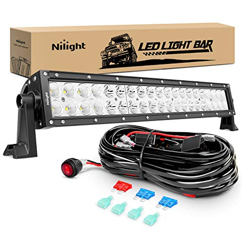 Nilight ZH017 22Inch 120W Spot Flood Combo Bar Led Off Road Lights with 16AWG Wiring Harness Kit, 2 Years Warranty