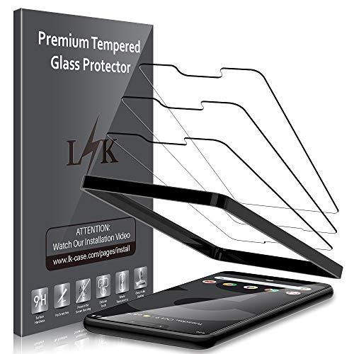 LK 3 Stück Schutzfolie für Google Pixel 3 XL, Google Pixel 3 XL Panzerglas, 9H Härte,[Alignment Frame Einfache Installation]
