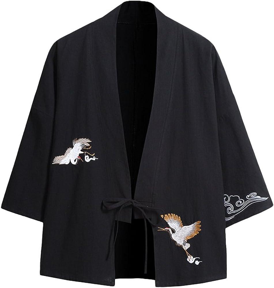 Lavnis Men's Embroidery Kimono Cardigan Casual Cotton Linen Seven Sleeves Open Front Coat