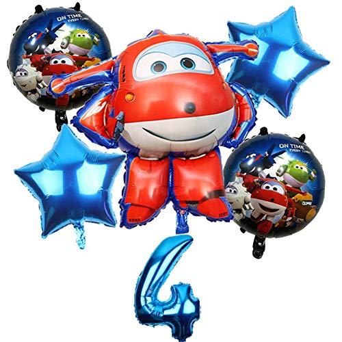 ZJWDM 6 Stücke 3D Super Wings Ballon Jett Luftballons Super Wings Spielzeug Geburtstagsfeier 32 Zoll Anzahl Dekorationen Kinder Spielzeug Luftballons Set Mint Gree