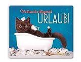 Witziges Mauspad, Mousepad 23 x 19 cm, mit Motiv, Katze in Badewanne 'Ich brauche dringend Urlaub!'