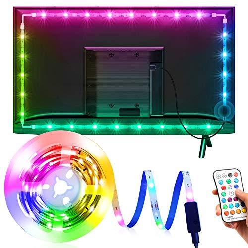 Tira LED TV 3M, OMERIL Luces LED TV RGB con 21 Modos y 16 Colores, Tiras LED USB con Control Remoto, Retroiluminación LED para TV (45-70 Pulgadas), HDTV, Habitación, PC, Monitor, Espejo, Estante