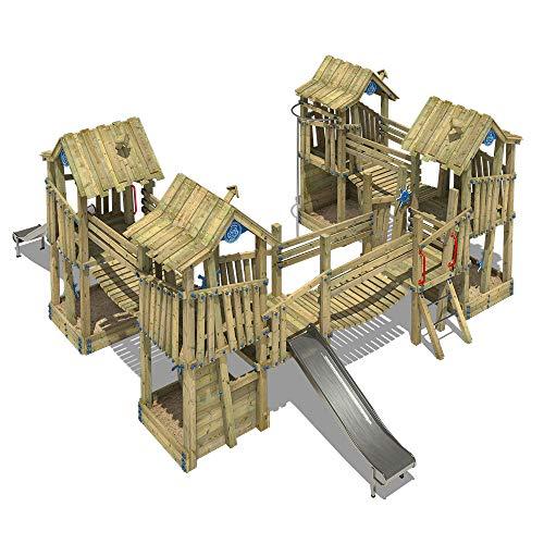 WICKEY Spielturm Klettergerüst PRO GIANT Kingdom öffentliches Spielplatz Spielgerät mit Edelstahl Rutsche