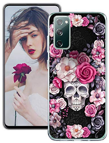 kinnter Galaxy S20 FE 5G Cover Halloween Hülle Kompatibel mit Samsung Galaxy S20 FE 5G Hülle Handyhülle Silikon Bumper Schutzhülle Rose Blumen Skull Schädel Etui für Galaxy S20 FE 5G Halloween