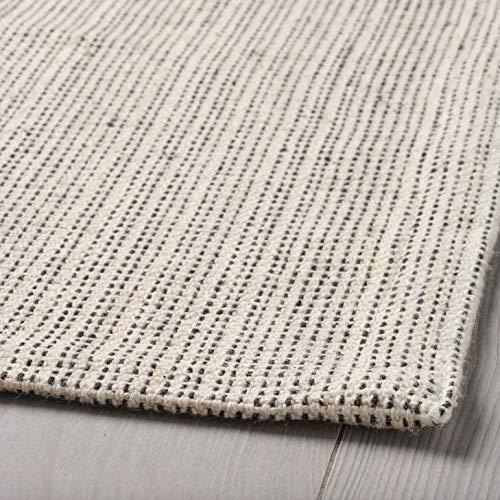 Lidoma IKEA Tiphede - Alfombra plana de pelo corto, algodón 100% reciclado, lavable a máquina, color blanco natural, crema, 120 x 180 cm