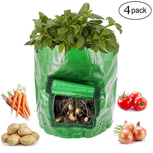Kyerivs Garden Potato Grow Bag 4 Pack 10 Gallon Vegetables Planter Bags for Growing Potato, Carrot & Onion