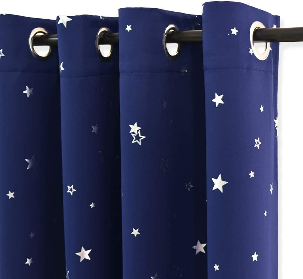 PONY DANCE Blue Curtains for Bedroom - Blue Curtains 54 Drop Short Eyelet Stars Curtains with Solid Colour & Foil Printed Stars for Boys, 52 x 54 - inch, Navy Blue, 2 PCs 2 x W 52 x L 54 Printed Stars   Navy Blue