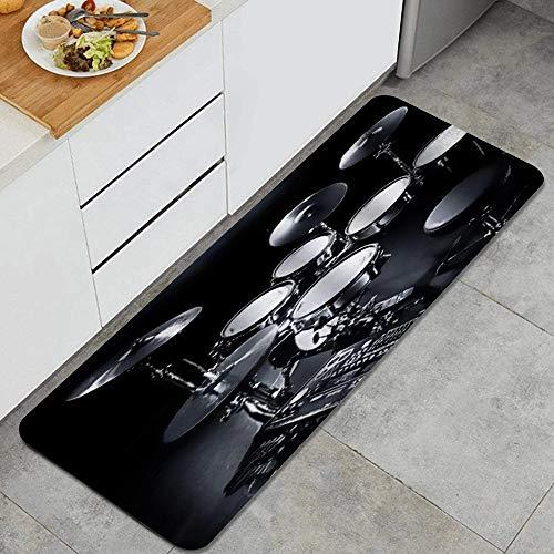 PANILUR Alfombras para Cocina Baño de Cocina Absorbente Alfombrilla,Juego Completo de Tambores Grises,para Dormitorio Baño Antideslizantes Lavables