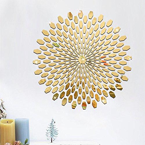 MiYan 225 Pegatinas de Pared de Azulejos de Espejo 3D, diseño de Mosaico para decoración de habitación, Arte Moderno, Color Dorado