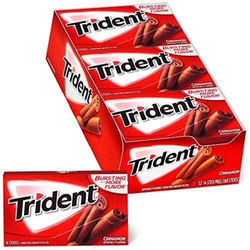 Trident Cinnamon Sugar Free Gum, 12 Packs of 14 Pieces (168 Total Pieces)