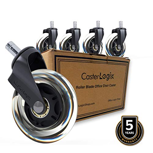 Office Chair Caster Wheels (Set of 5) [Heavy Duty, Soft Rubber, Fully Safe for All Floors incl. Hard-Wood] Desk Chair Roller Blade Style Caster Wheel...