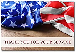 Image: American Flag Thank You for Your Service Cards - USA - Patriotic - Military - Blank on The Inside - Includes 24 Cards and Envelopes - 5.5 x 4.25 (24 Pack) | Brand: Small World Greetings