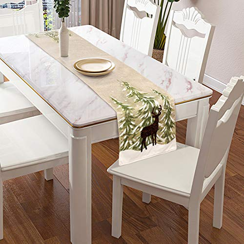 EDLDECCO Table Runner 14 X 72 Inches Burlap Christmas Rustic Deer Home Family Dining Gatherings Table Decoration Restaurant Parties Decor