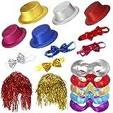 Ucradle 17 Stück partyhüte Set mit Neonfarben Umfassen Lametta Perücke Fliegen Halbmaske Witzige Hüte für Photo Booth Party Geburtstag...