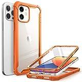 i-Blason Serie Ares Cover per iPhone 12 / iPhone 12 Pro con Pellicola Protettiva 360 gradi Custodia Rugged Case TPU Bumper, Retro Trasparente(Arancio)