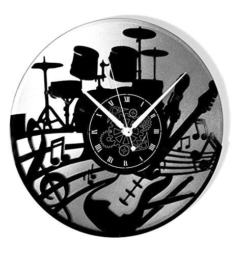 Instant Karma Clocks wandklok van vinyl met dubbel deel geschenkidee handgemaakt huis muziek keyboard accu zilver, vintage