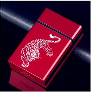 FRDYB Cigarette Box, Thick Sliding Push Cover Aluminum Alloy Personality Gift Creative Portable Cigarette Case, Stylish And Beautiful Color (can Hold 20 Cigarettes) ( Color : Red , Size : 10*7.5*1cm )
