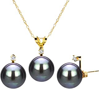 18k Yellow Gold Plated Silver 1/33cttw Diamond 8-8.5mm Dyed-black Freshwater Cultured Pearl Jewelry Set