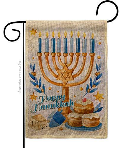 Angeleno Heritage Jewish Festival Garden Flag Winter Hanukkah Candle Bonsai Menorah Chanukah David House Decoration Banner Small Yard Gift Double-Sided, 13'x 18.5', Thick Burlap