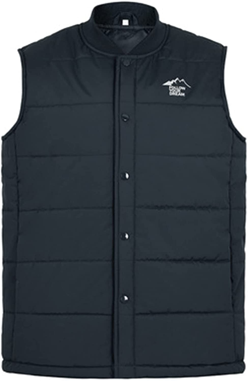 Men's Autumn Winter Vest Fashion Stand Collar Pure Color Waistcoat Vest Jacket Sleeveless Jacket Thick Warm