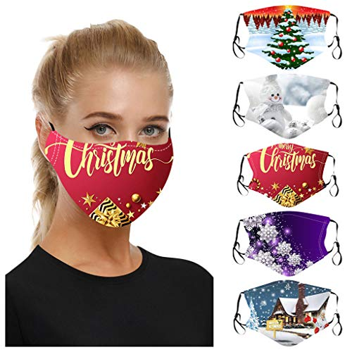 5PC Unisex Adult Christmas Printed Face_masks_Reusable Washable Dustproof Windproof Protective Face Covering for Man Woman