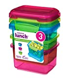 Sistema Lunch Collection Food Storage Containers, 1.6 Cup, 3 Pack, Blue/Green/Pink | Great for Meal Prep | BPA Free, Reusable