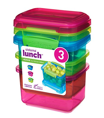 Sistema 41544 Lunch Collection Food Storage containers, Blue, Green, Pink