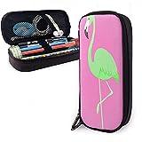 Grüne Flamingo Vogel PU Leder Federmäppchen wasserdicht Kosmetiktasche