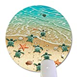 Wknoon Sea Turtles on The Beach Round Mouse Pad, Starfish Shell Blue Ocean Painting Print Art Circular Mouse Pads