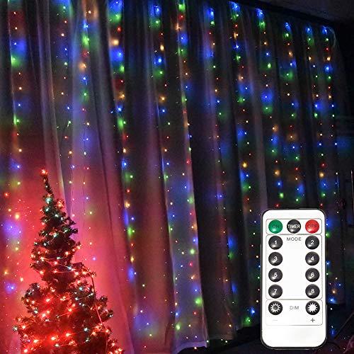 Aiboria Cortina de 300 luces LED de 2,8 x 2,8 m, para dormitorio, pared, fondo de boda, patio, fiesta, jardín, 8 modos, decoración de interior y exterior, luces de Navidad (multicolor)