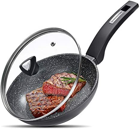 CSK 8 Inch Nonstick Stir Fry Pan with Lid Nonstick Skillet with Ergonomic Handle and Flat Bottom product image