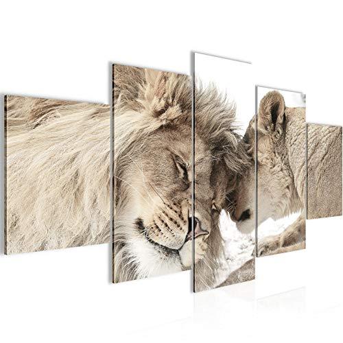 Bilder Löwen Liebe Wandbild Vlies - Leinwand Bild XXL Format Wandbilder Wohnzimmer Wohnung Deko Kunstdrucke Beige 5 Teilig - MADE IN GERMANY - Fertig zum Aufhängen 002153b