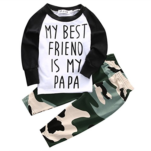 Toddler Baby Boy My Best Friend is My Papa Long Sleeve Raglan T-Shirt Tops Camouflage Pants Set (Multicolor, 18-24m)