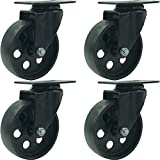 FactorDuty 4 All Black Metal Swivel Plate Caster Wheels Heavy Duty High-Gauge Steel (4' No Brake)