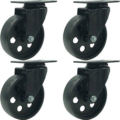 FactorDuty 4 All Black Metal Swivel Plate Caster Wheels Heavy Duty High-Gauge Steel (4' No Brake)