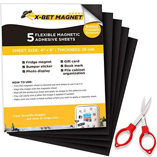 Foglio Magnetico Adesivo - 5 Magnetic Sheet da 10 cm x 15 cm - Nastro Magnetico Adesivo - Magneti Adesivi Magnete Flessibile - Set Calamite per Magneti Piatti e Calamite Foto