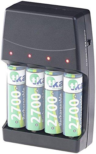 reVolt Batterieladegerät: 2in1-Ladegerät für NiMH-/NiCd-Akkus & Alkaline-Batterien, Typ AA & AAA (Alkaline Batterien Aufladen)