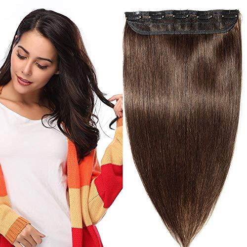 Clip In Extensions Echthaar ein Stück 5 Clips Dünn Tressen 100% Remy Echthaar Haarverlängerung (40cm-45g #2 Dunkelbraun)
