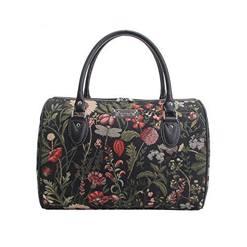 Signare Tapisserie Reisetasche Damen, Sporttasche Damen, Weekender Damen, Reisetasche groß mit Garten Designs (Morgengarten Schwarz)
