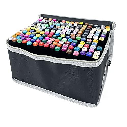 NICCOO Set di 168 pennarelli professionali per ritocchi, con custodia per il trasporto, punta a scalpello, punta arrotondata, asta nera, pennarello in fibra per ufficio, Anime Bambini