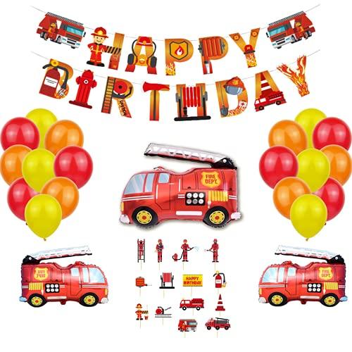Junyobee Kindergeburtstag Feuerwehrauto Deko Luftballons Spielzeug Feuerwehrmann Geburtstag Banner Tortendeko Feuerwehr für Baby Party Deko Junge