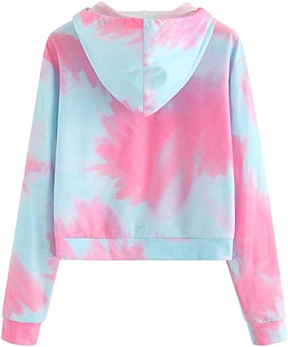 LET Mesdames Arc-en-Ciel Zipper à Capuche Dames Couture Zipper rayé Pull Sweat Top B-pink