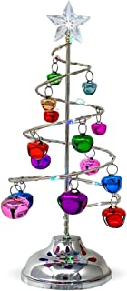 Light Up Tabletop Spiral Bright Colored Jingle Bell Christmas Tree - Battery Operated Silver Table Top Tree with Multi Color Changing Lights - Home Wedding Holiday Decor -Approx 10.25